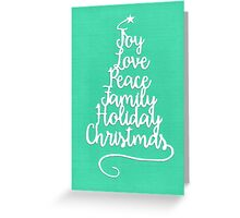 Christmas Love Typography - Green Greeting Card