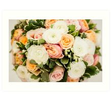 Beautiful bouquet with tender roses texture Art Print