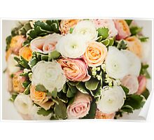 Beautiful bouquet with tender roses texture Poster