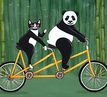 Panda and Cat Bicycle Tandem by Ryan Conners