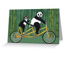 Panda and Cat Bicycle Tandem Greeting Card