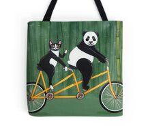 Panda and Cat Bicycle Tandem Tote Bag