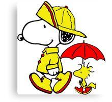 Raining Snoopy and Woodstock Canvas Print
