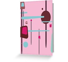 Retro Abstract In Pinks Greeting Card