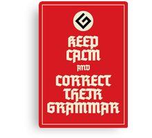 Keep Calm Grammar Nazi Canvas Print