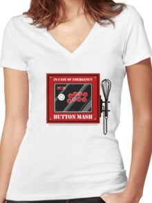 Button Mash Women's Fitted V-Neck T-Shirt