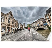 Strolling around Bruges Streets Poster