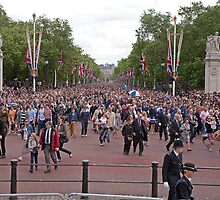 Crowds gathering at Trooping The Colour by Keith Larby