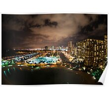 Honolulu at Night Poster
