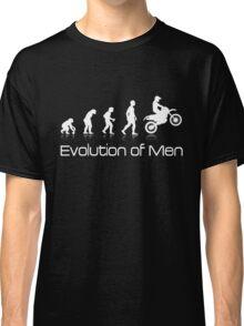 Evolution of Men - White Print Classic T-Shirt
