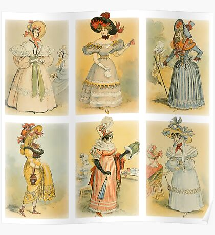 Vintage French fashion (18th-19th century) Poster