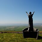 Colour Photo of  Manannan Mac Lir sea Lord, son of Lir God of the Sea statue, Binevenagh Mountain by Sarah Cowan
