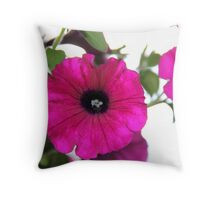 Hot Pink Petunias Throw Pillow