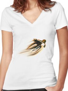 VINTAGE MOTORCYCLE ADVERTISING ART. Women's Fitted V-Neck T-Shirt