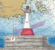 Ogden Pt Lighthouse BC Canada Nautical Chart Art Cathy Peek by Cathy Peek