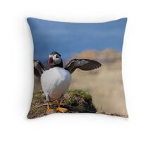 Puffin in Treshnish Isles With Wings Open Throw Pillow