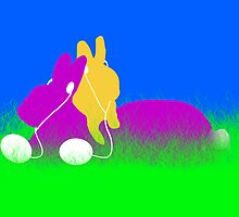 Easter Bunnies with Ear Buds by Gravityx9