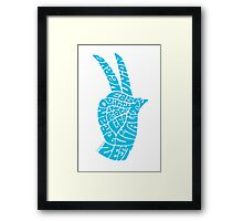Life Force Hand in Bright Sky Blue Framed Print