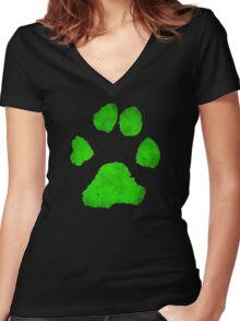 Noir Paw Women's Fitted V-Neck T-Shirt