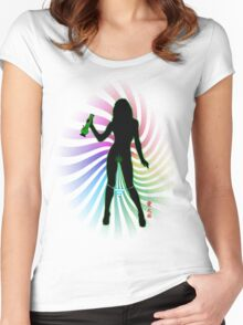 Bong Rip Girl Rainbow-1 (solid) Women's Fitted Scoop T-Shirt