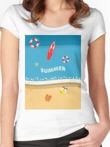 Summer Beach Women's Fitted Scoop T-Shirt