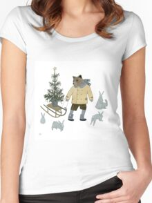 Bear, Christmas Tree and Bunnies Women's Fitted Scoop T-Shirt