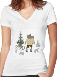 Bear, Christmas Tree and Bunnies Women's Fitted V-Neck T-Shirt