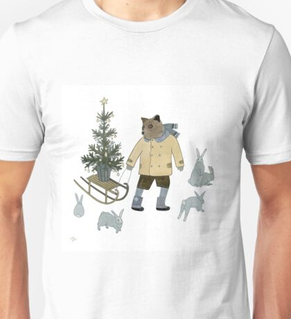 Bear, Christmas Tree and Bunnies Unisex T-Shirt