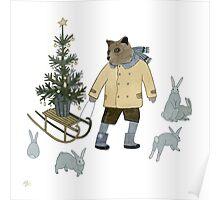 Bear, Christmas Tree and Bunnies Poster