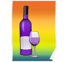 comic glass of wine Poster