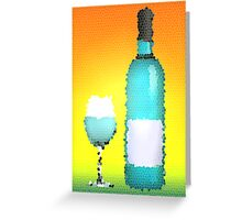 stained glass bottle of wine Greeting Card