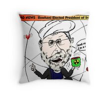Iran's President Elect Rowhani Caricature Throw Pillow