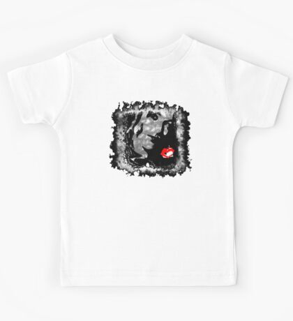 Black and White model with Red Kiss Kids Tee