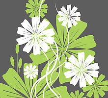 Green and white flowers by Sabelskaya