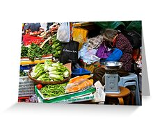 market scene in Hong Kong lady selling fruit and vegetables Greeting Card
