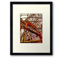 bamboo building construction a typical view of Hong Kong Framed Print
