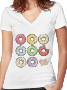 Donut Women's Fitted V-Neck T-Shirt