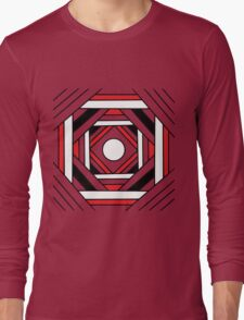 Square modern red-white-black pattern (mandala) Long Sleeve T-Shirt