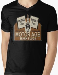 Motor Age Spark Plug Mens V-Neck T-Shirt