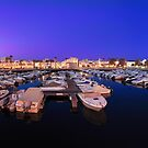 Faro Marina at Night Panorama by manateevoyager