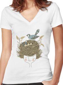 Bird Hair Day Women's Fitted V-Neck T-Shirt
