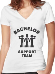 Bachelor Support Team (Stag Party / Black) Women's Fitted V-Neck T-Shirt