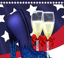 4th July Greeting Card With Jazzy Shoes And champagne by Moonlake