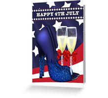 4th July Greeting Card With Jazzy Shoes And champagne Greeting Card