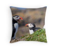 Puffins in Scotland - Hebrides Islands Throw Pillow