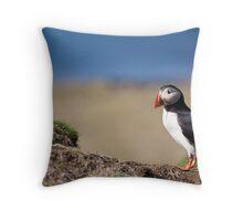 Puffin in Scotland - Treshnish Isles Throw Pillow