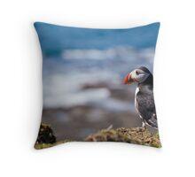 Puffin in Scotland Treshnish Isles - Inner Hebrides Throw Pillow