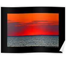 Long Island Sound Red Sunset - Stony Brook, New York Poster