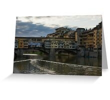 Light Trails on the Arno - Florence, Italy Greeting Card