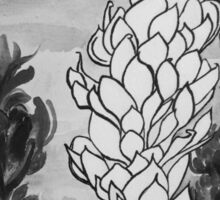 Alpinia purpurata – Red Ginger Flower - Black and White Greyscale Sticker